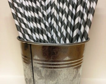 25 Gray Grey Striped Paper Straws for Parties, Wedding, Baby Showers, Birthdays, Bar Mitzvah, Bat Mitzvah, Ice Cream Social