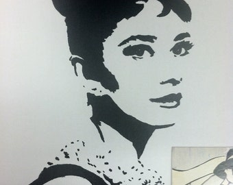 Audrey Hepburn Print from Original Charcoal Drawing Breakfast at Tiffany's Holly Golightly