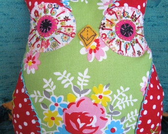 Kitschy Owl Pillow - Embroidered & Appliqued