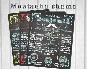 The First Birthday Chalkboard Poster Sign Printable-digital-babys first birthday-Plus FREE web FILE -Boy -MUSTACHE (moustache) bash
