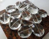 Faceted Puffed Oval Crystal Beads - Clear - (24x20mm) 7.75inch Strand S2240
