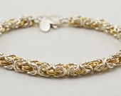 Sterling Silver and 14K Gold-Filled Bracelet - Chainmaille Byzantine Chainmaille- Silver  - Birthday Gift - Anniversary Gift