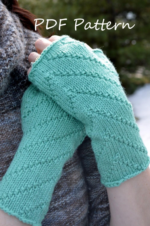 Knitting Pattern For Fingerless Gloves Using Circular Needles : PDF Knitting PATTERN Diagonal Stitch Fingerless by LawsOfKnitting