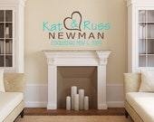 "Last Name and Wedding Date Established Decal - Vinyl Wall Decal - 20""H x 12.5""W"
