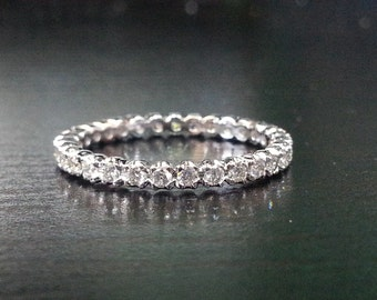 14k White Gold Diamond Thin Eternity Band Ring Wedding Anniversary 2mm