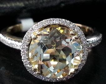 14k Yellow Gold Round Shape Diamond Yellow Lemon Quartz Engagement Ring Anniversary