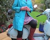 Vintage 1970s Turquoise Blue Raincoat Great Condition