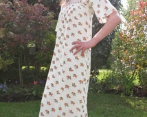Vintage 1970s Cheesecloth Indian Maxi Dress with Embroidery Super Condition
