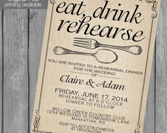 Printable Rehearsal dinner invitation template, wedding dinner, dinner party, fork, spoon