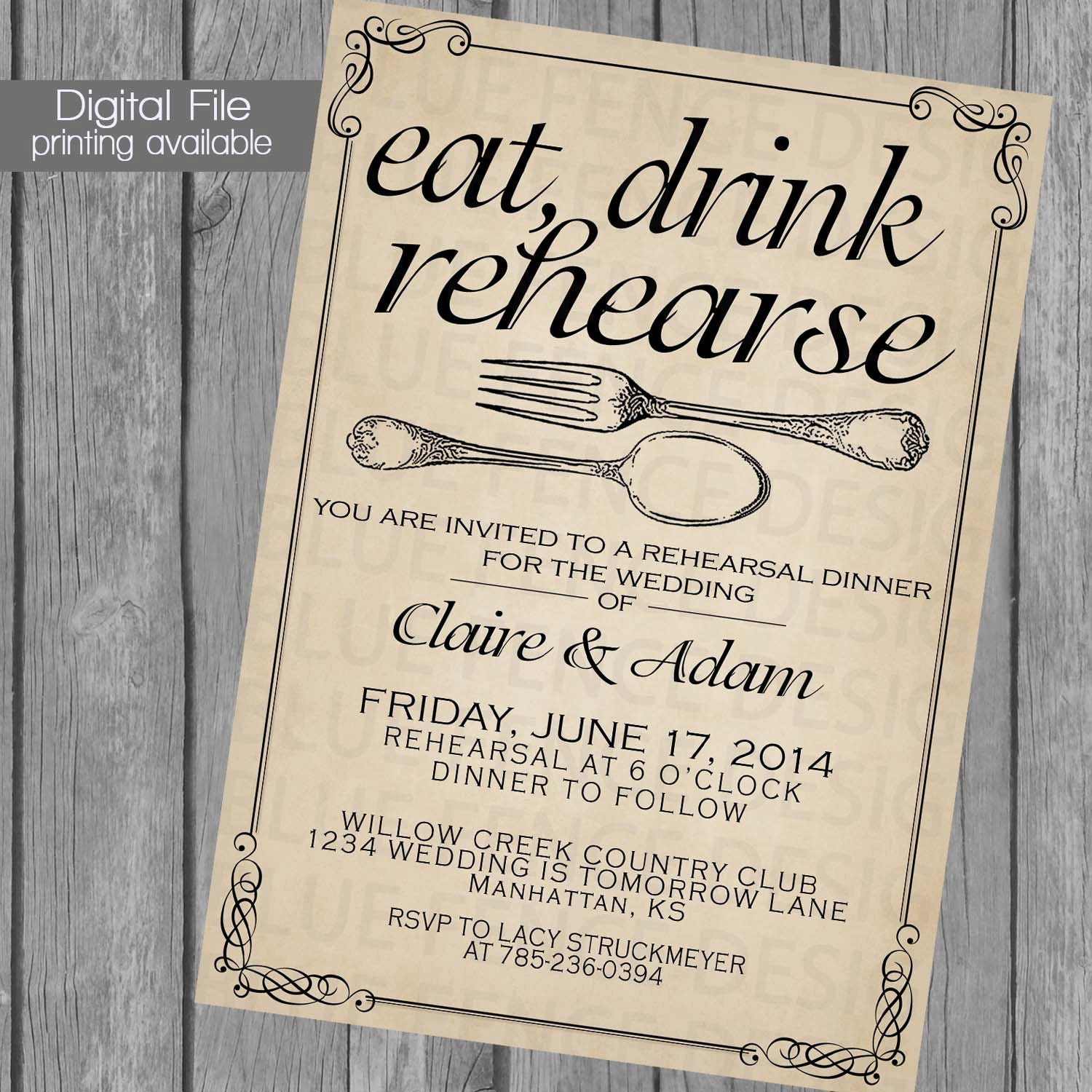 Printable Rehearsal Dinner Invitation Template Wedding