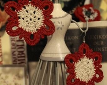Beige Red Lace earrings, long earrings, crochet earrings, retro, boho,  vintage, romantic earrings, ornamental earrings, bridal, bridesmaids
