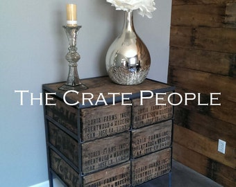 FREE SHIPPING - 6 Drawer Crate Dresser or Entrance Table - Reclaimed Wood and Crates - Customizable