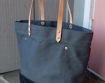 Waxed Canvas Tote Bag with Leather Handles Extra Large