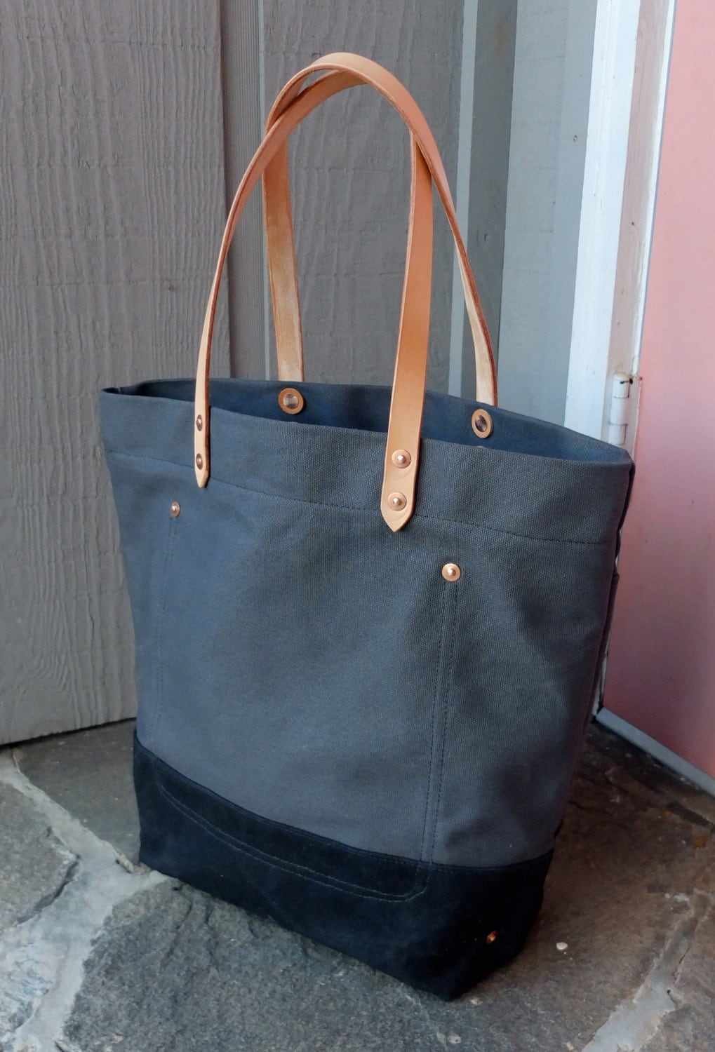 Waxed Canvas Tote Bag with Leather Handles Large Charcoal