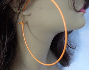 LARGE 4 inch Hoop Earrings Classic Hoop Neon Orange Hoop Earrings Thin Hoops