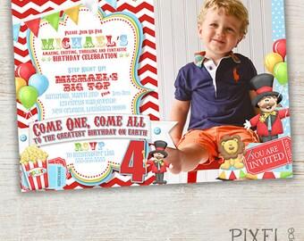 Printable Birthday Invitation, Big Top Party Invitation, Circus Party Invitation, Party Invitation, Photo Card