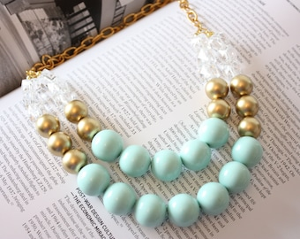 Mint Gold Bib Statement Necklace- Mint Necklace- Statement Jewelry