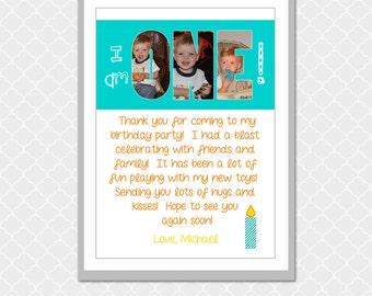 Thank you, I am ONE, Birthday Picture Word- 5x7 -  Custom Digital Print- EOgdenAve