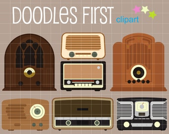 Retro Style Radios Digital Clip Art for Scrapbooking Card Making Cupcake Toppers Paper Crafts