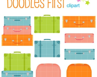 Cute Suitcases Digital Clip Art for Scrapbooking Card Making Cupcake Toppers Paper Crafts