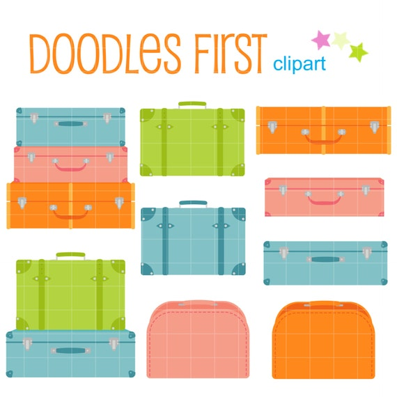 Cute Suitcases Digital Clip Art for Scrapbooking Card Making