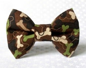 Dog Bow Tie, Dog Bow, Camo Dog Bones (Brown, Cream, Green, Black, Tan), Removable Style Accessory for Dog Collar