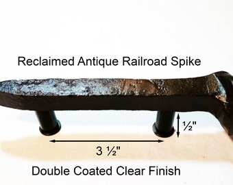 "3 1/2"" Right Sealed Railroad Spike Cupboard Handle Dresser Drawer Pull Cabinet Knob Antique Vintage Old Rustic Re-purposed House Restoration"