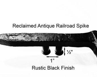 "1"" Right Black Railroad Spike Cupboard Handle Dresser Drawer Pull Cabinet Knob Antique Vintage Old Rustic Re-purposed House Restoration"