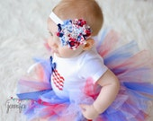 Fourth of July patriotic handmade shabby flower headband, Newborn baby child toddler adult headband.