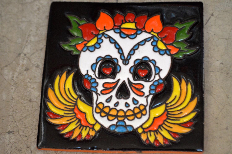 Azulejos mexicanos pintado a mano del dias de los muertos for Azulejos de mexico
