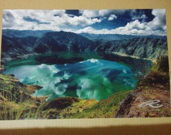 "Photo: Quilotoa, Ecuador (18"" x 12"" print) (front signature)"