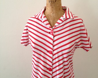 XS-S | 1960-70s Red & White Striped Shirt