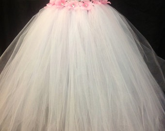 White and Pink Tutu Dress, Flower Girl Tutu Dress, White Flower Girl Dress, Tulle Dress, White and Pink Tulle Dress, Flower Girl Dresses