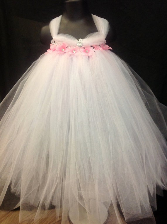 White And Baby Pink Flower Girl Dresses 94