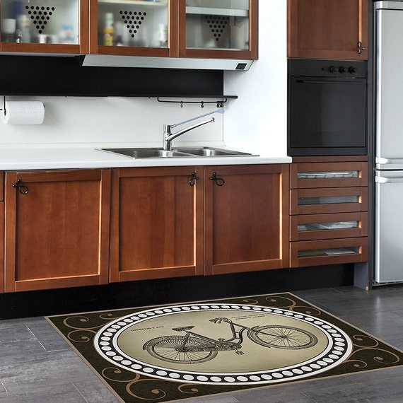 Retro Bike Rug Bath Mat Floor Mat For Home By PaperBellaPrints