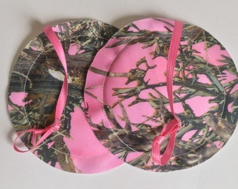 Contoured NURSING PADS, Breast Pads, Reusable, Camo Timber Print- Many Prints Available