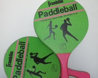 Vintage Franklin Paddleball Racquets, Pink and Green Preppy Paddles, Vintage Sport, Beach Fun, Backyard Games, Vintage Games