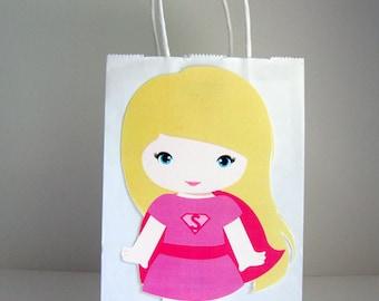 Girl Superhero Party Favor, Goody, Gift Bags