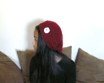 FREE STANDARD SHIPPING on Crochet Cranberry Beret with White Flower. Size Small to Medium