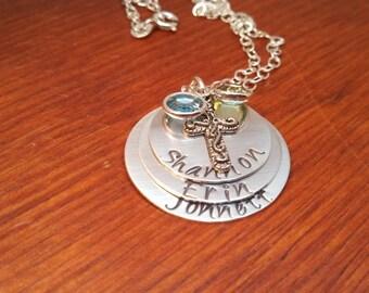 Handstamped personalized Mom/Grandma family necklace-swarovski birthstone necklace-Mother's necklace-Grandmother's necklace-stacked necklace