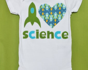 I Love Science- Rocket Onesie and Toddler Shirt