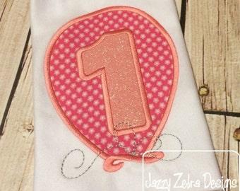 One Birthday Balloon Appliqué embroidery Design - 1st birthday appliqué design - one year old