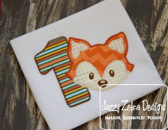 One Fox Appliqué embroidery Design with Diagonal Square Stitching - 1st birthday appliqué design - one year old