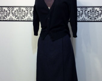 Dark Navy Rockabilly Pencil Skirt 80's Does 50's by Staples, Size 16, Vintage Nautical Wiggle Skirt, Pin Up Style Large / XL Pencil Skirt