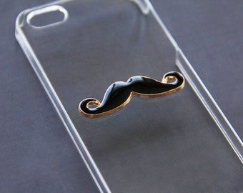 Mustache iPhone 5 Case iPhone 5s Mustache Hard Plastic Cover Gold & Black Mustache iPhone 4 4s iPhone 5c Mustache iPhone 6 Plus Cover Trendy
