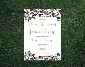 Bohemian Floral Wedding Invitation // DIY Printable // Modern Wedding, Spring Wedding, Summer Wedding