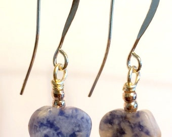 SALE Item - Sodalite Earrings, Blue Earrings, Heart Earrings, Gemstone Earrings, Silver earrings, Valentines gift