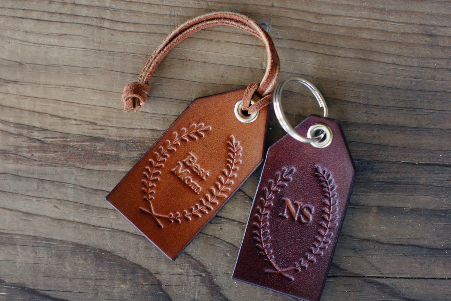Luggage Tags: Custom Personalized Leather Luggage Tag Initials Key Chain