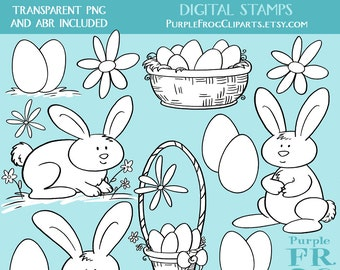 EASTER - Digital Stamp Set, Brushes. 11 images, 300 dpi. jpeg, png, abr files. Instant download.