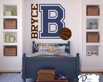 Varsity Letter Decal with Personalized Name and Basketball B8 for Teen Boys Bedroom Sports Wall Decal Basketball Wall Decal